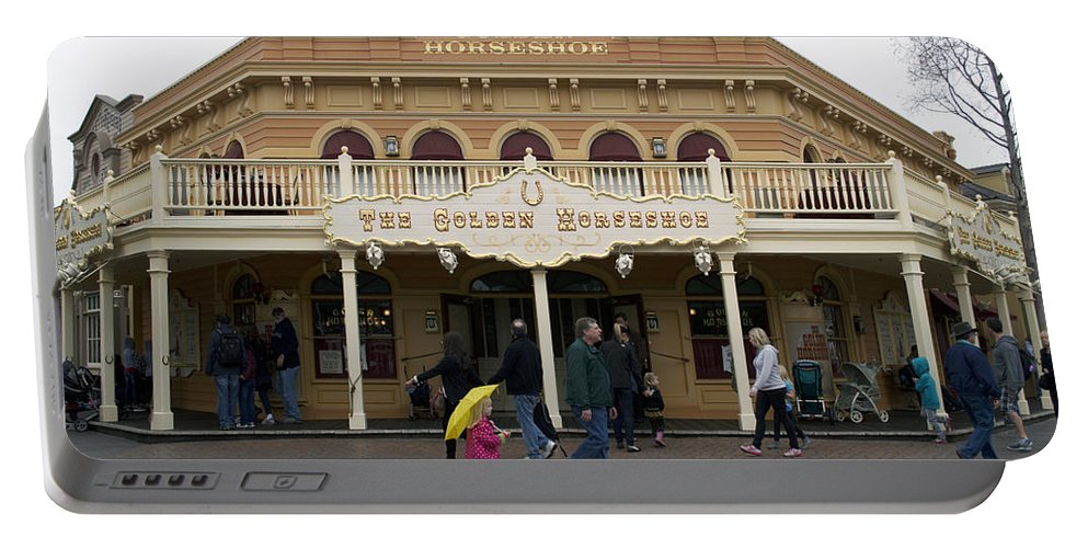 Disney Portable Battery Charger featuring the photograph Golden Horseshoe Frontierland Disneyland by Thomas Woolworth