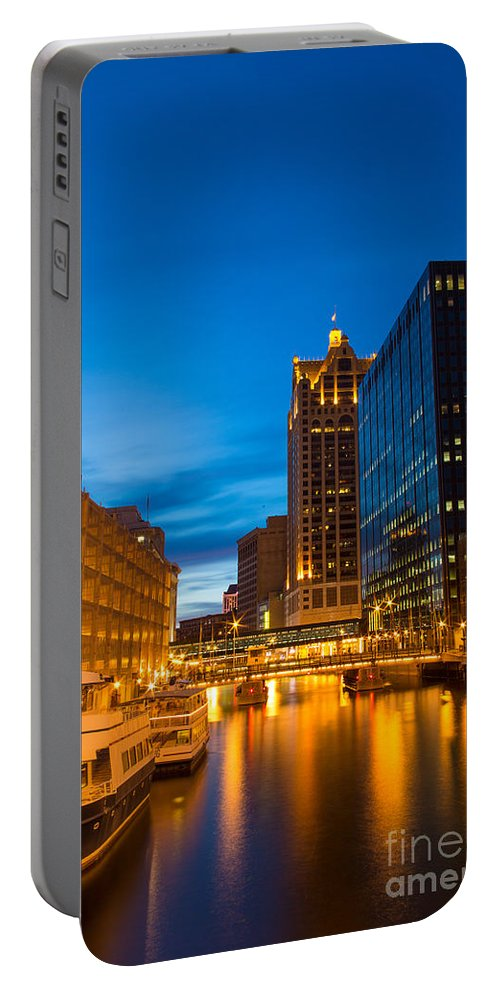 Architecture Portable Battery Charger featuring the photograph Golden Hour Milwaukee River by Andrew Slater