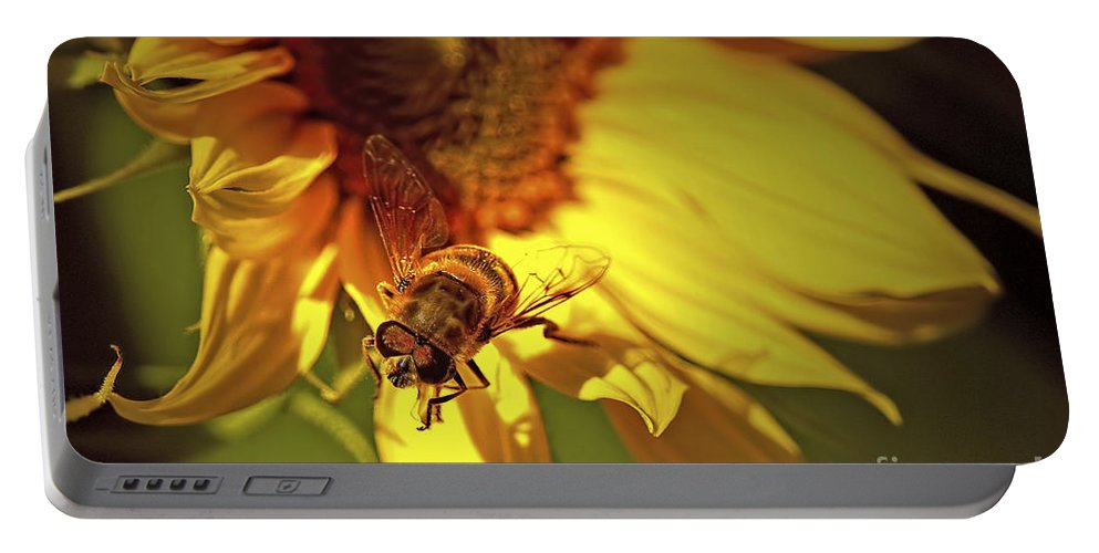 Hover Fly Portable Battery Charger featuring the photograph Golden Hoverfly 2 by Sharon Talson