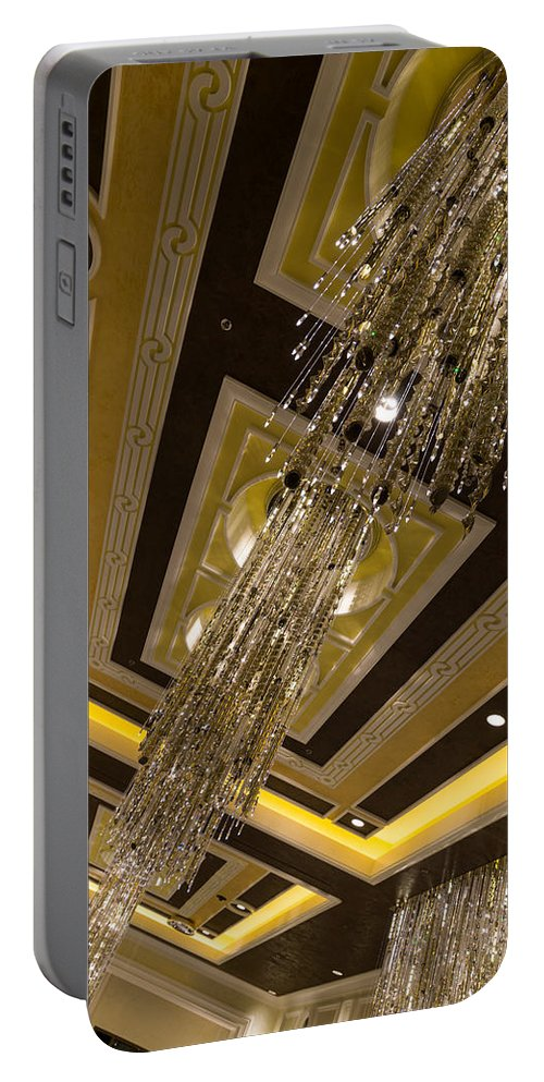 Golden Jewel Portable Battery Charger featuring the photograph Golden Jewels And Gems - Sparkling Crystal Chandeliers by Georgia Mizuleva