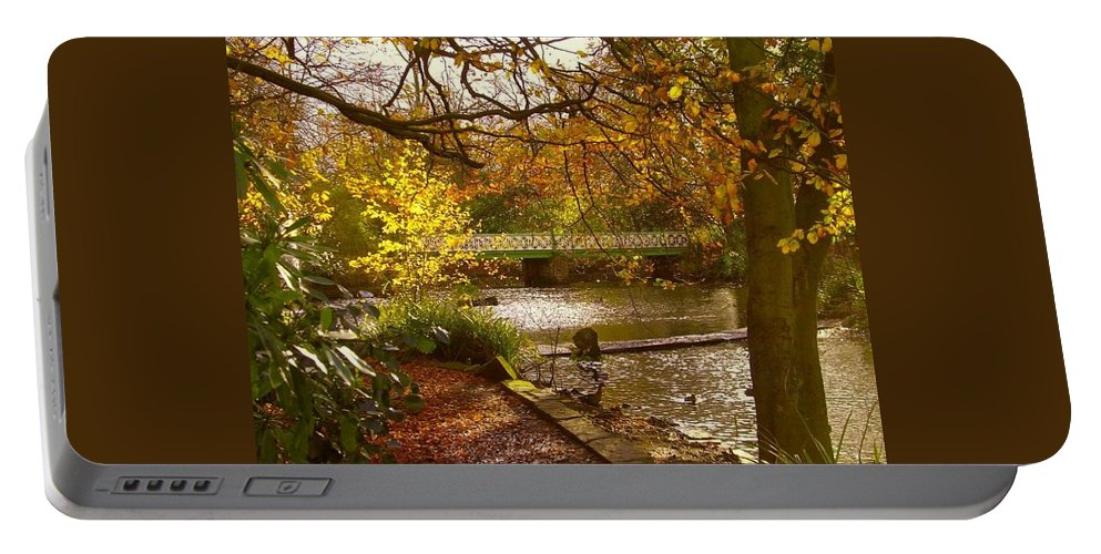 Autumn Portable Battery Charger featuring the photograph Golden Lake At Botanical Gardens by Joan-Violet Stretch