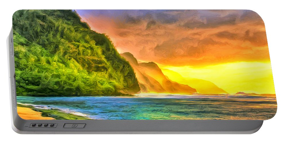 Sunset Portable Battery Charger featuring the painting Golden Moment by Dominic Piperata