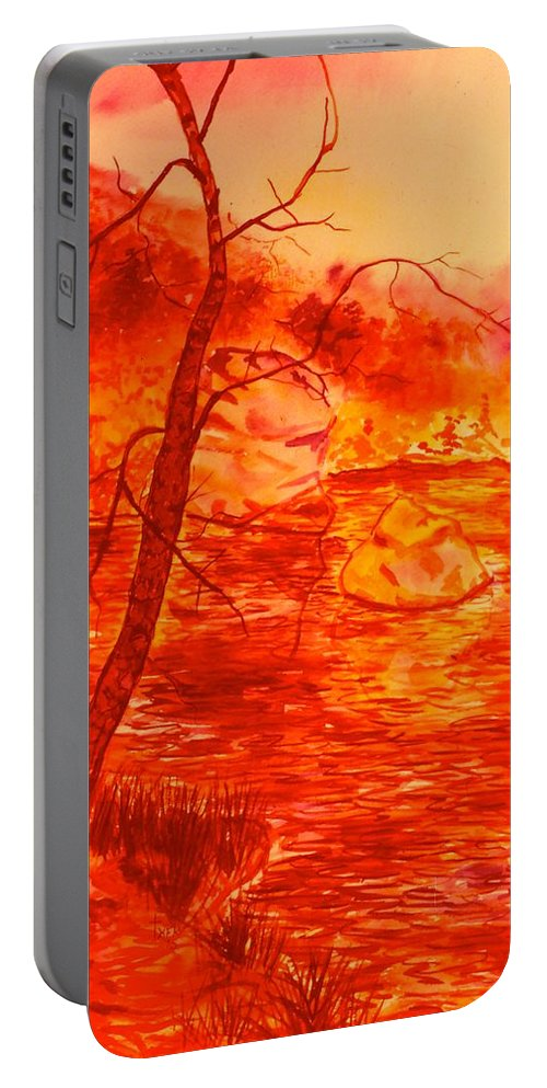 Lake Portable Battery Charger featuring the painting Golden Mountain Lake Morning by Kendall Kessler