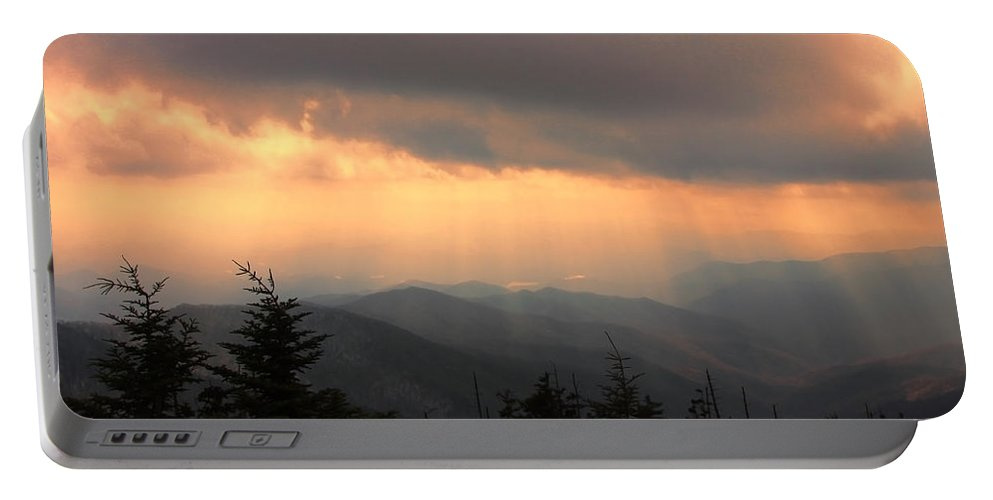 Sunset Portable Battery Charger featuring the photograph Golden Mountain Rays by Shari Jardina