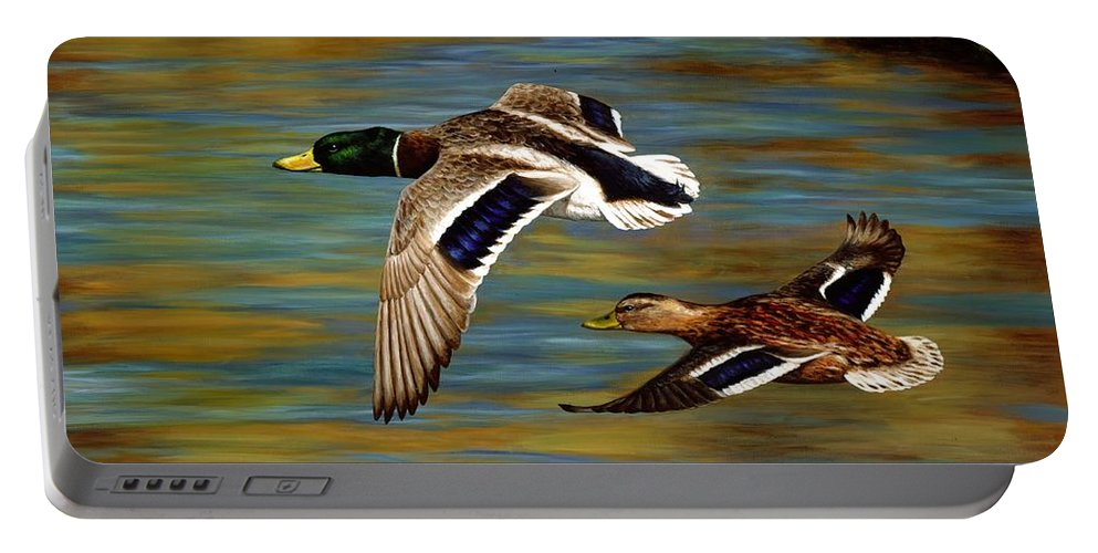 Duck Portable Battery Charger featuring the painting Golden Pond by Crista Forest