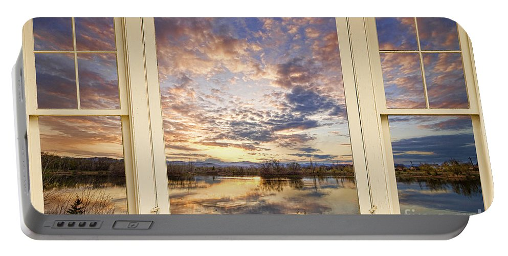 Window Portable Battery Charger featuring the photograph Golden Ponds Scenic Sunset Reflections 4 Yellow Window View by James BO Insogna