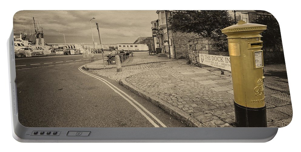 Penzance Portable Battery Charger featuring the photograph Golden Post by Rob Hawkins