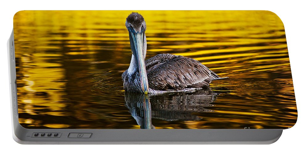 Brown Pelican Portable Battery Charger featuring the photograph Golden Reflections by Joan McCool