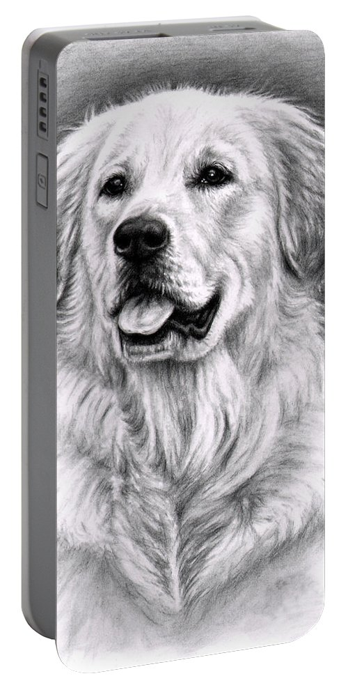 Dog Portable Battery Charger featuring the drawing Golden Retriever Spence by Nicole Zeug