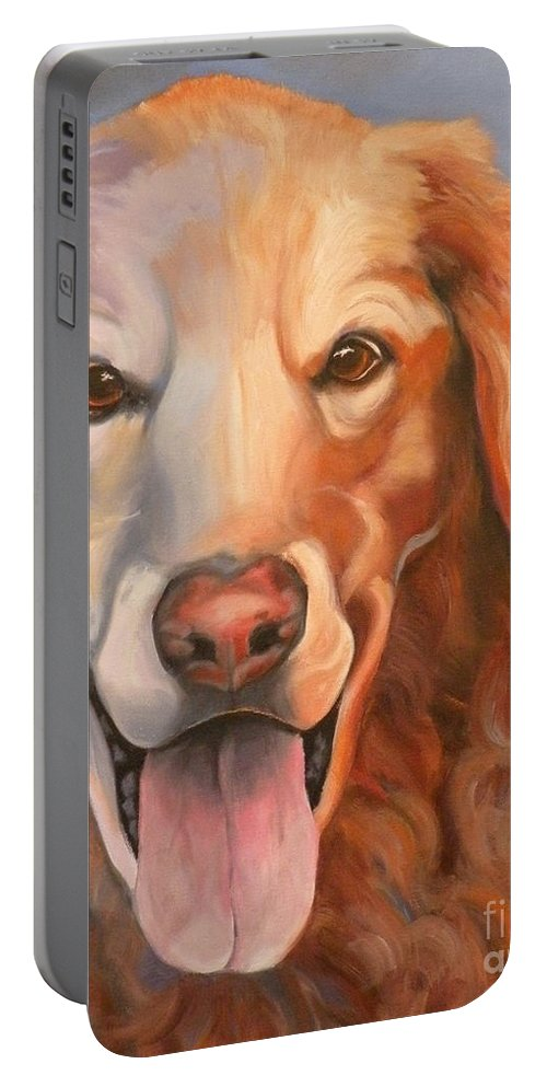 Dogs Portable Battery Charger featuring the painting Golden Retriever Till There Was You by Susan A Becker