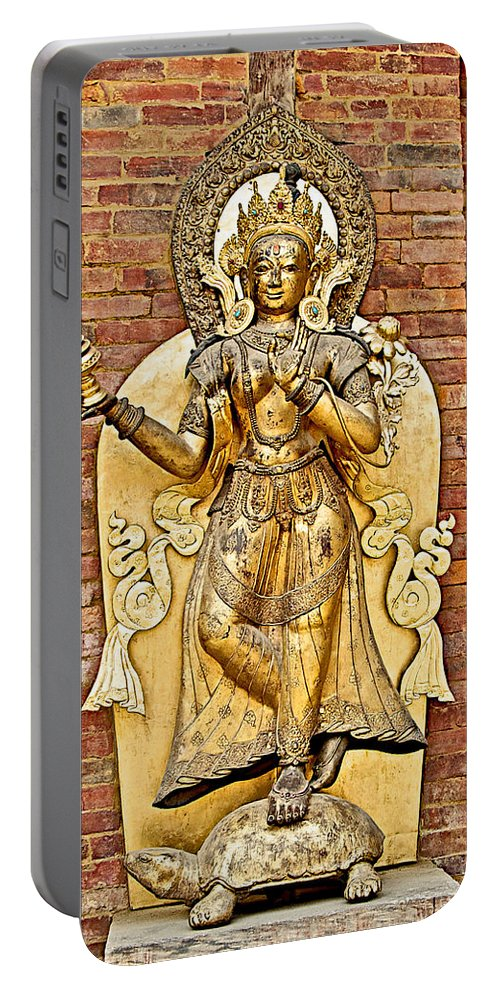 Golden Sculpture In A Hindu Temple In Patan Durbar Square In Lalitpur Portable Battery Charger featuring the photograph Golden Sculpture In A Hindu Temple In Patan Durbar Square In Lalitpur-nepal by Ruth Hager