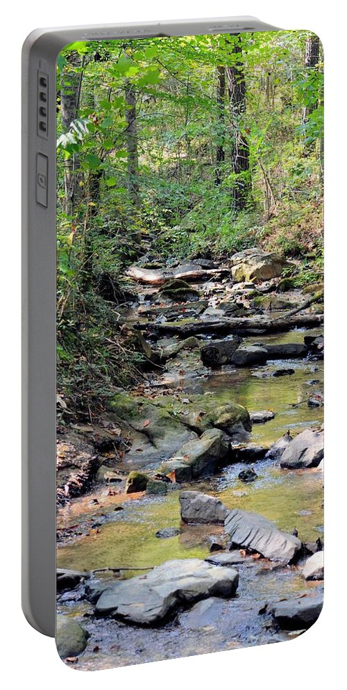 Golden Spring Waters Of Hurricane Branch Portable Battery Charger featuring the photograph Golden Spring Waters Of Hurricane Branch by Maria Urso