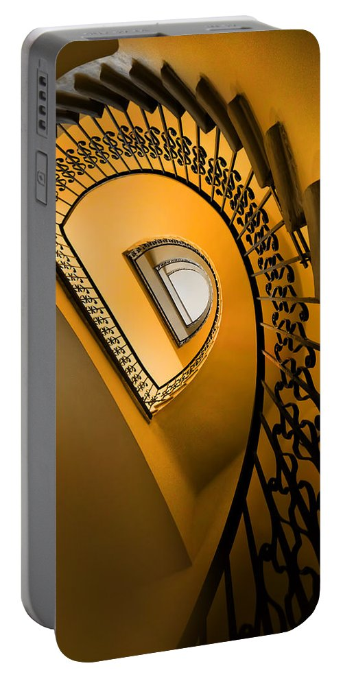 Architecture Spiral Portable Battery Charger featuring the photograph Golden Staircase by Jaroslaw Blaminsky