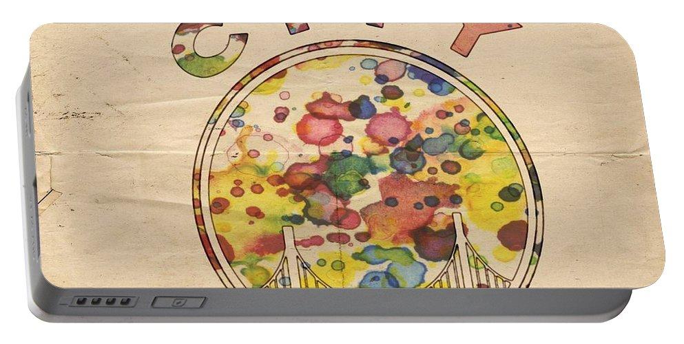 Golden State Warriors Portable Battery Charger featuring the painting Golden State Warriors Retro Art by Florian Rodarte
