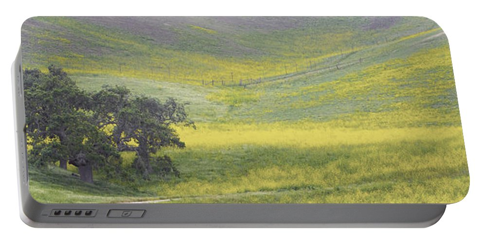 Barbara Snyder Portable Battery Charger featuring the digital art Goldenrod Oak Santa Ynez California 3 by Barbara Snyder