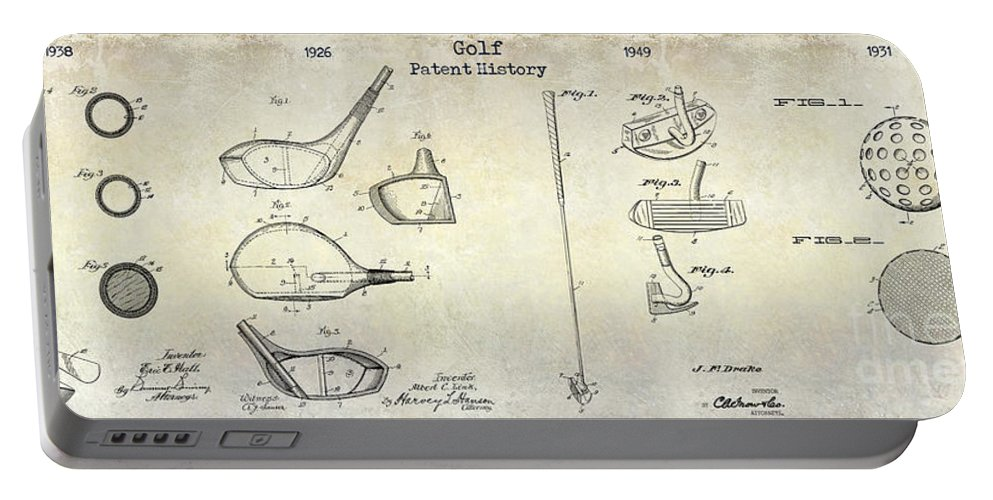 Golf Tee Portable Battery Charger featuring the photograph Golf Patent History Drawing by Jon Neidert