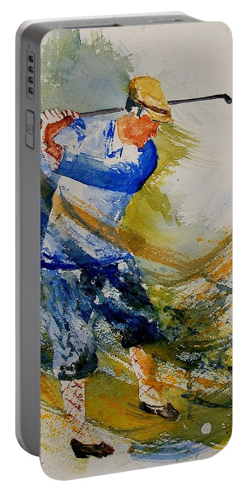 Golf Portable Battery Charger featuring the painting Golf Player by Pol Ledent