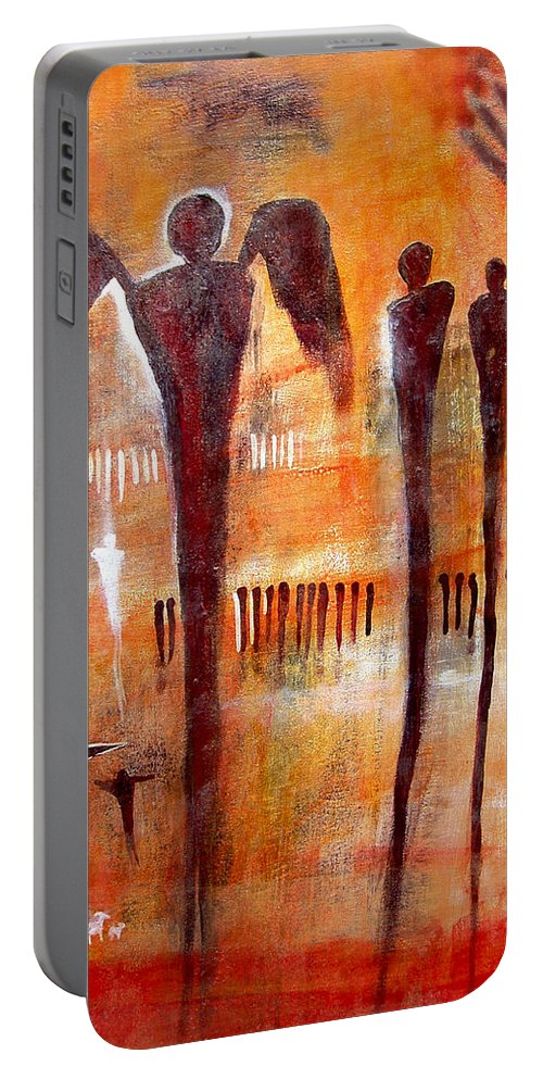 Petroglyph Portable Battery Charger featuring the painting Golgotha Petroglyph by Derrick Higgins