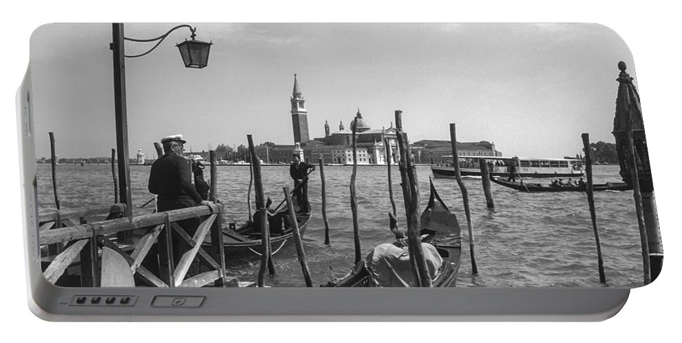 Venice Gondola Gondolas Person Persons People Men Man City Cities Cityscape Cityscapes Canal Canals Water Boat Boats Dock Docks Landing Landings Church Churches Tower Towers Structure Structures Building Buildings Architecture Italy Waterscape Waterscapes Portable Battery Charger featuring the photograph Gondola Rides 2 by Bob Phillips