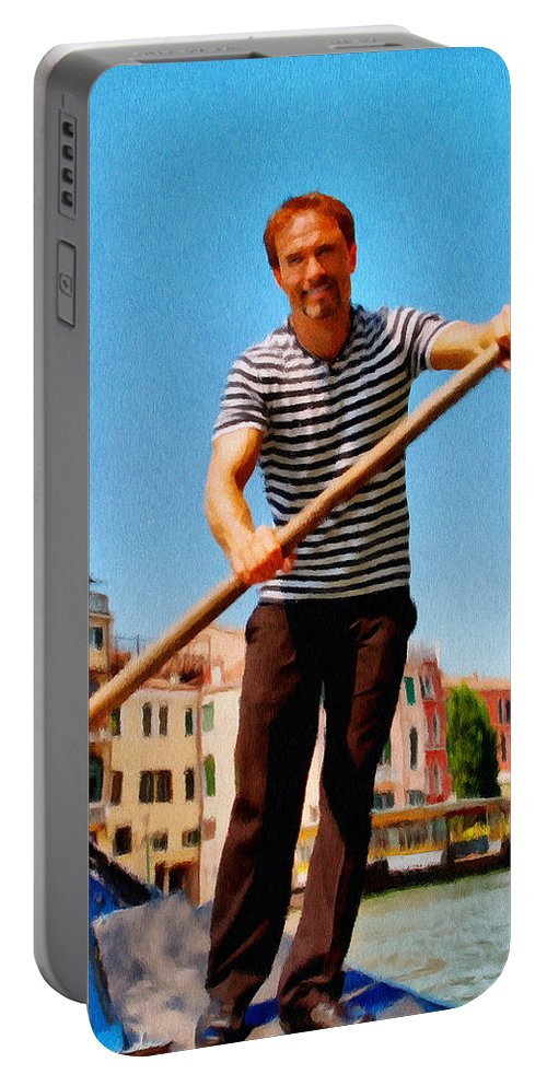 Europe Portable Battery Charger featuring the painting Gondolier by Jeffrey Kolker