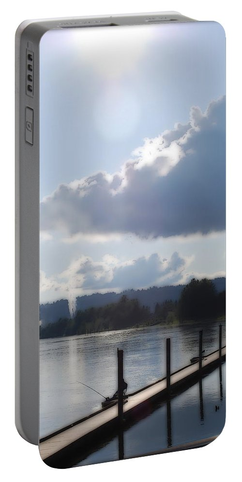 Dock Portable Battery Charger featuring the photograph Gone Fishing by Kathy Sampson