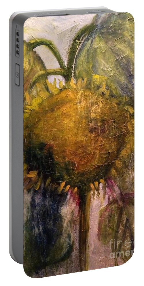 Sunflower Portable Battery Charger featuring the painting Gone To Seed by Sherry Harradence