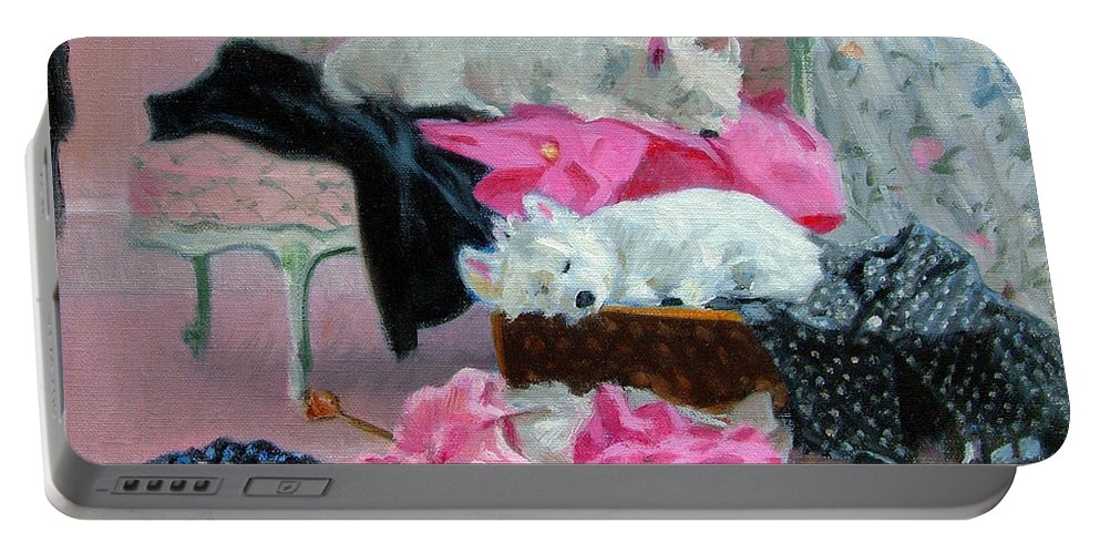 West Highland Terriers Portable Battery Charger featuring the painting Good And Plenty Home by Candace Lovely