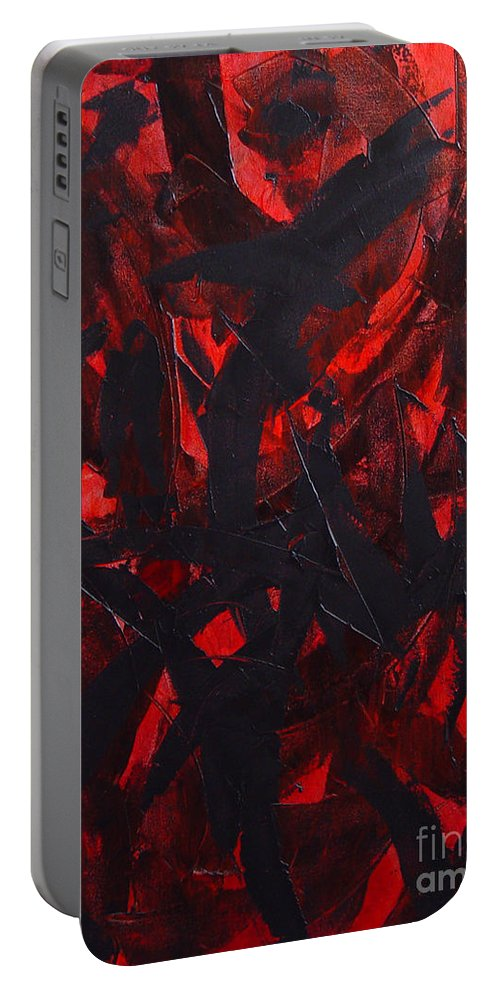 Abstract Portable Battery Charger featuring the painting Good Bye by Dean Triolo
