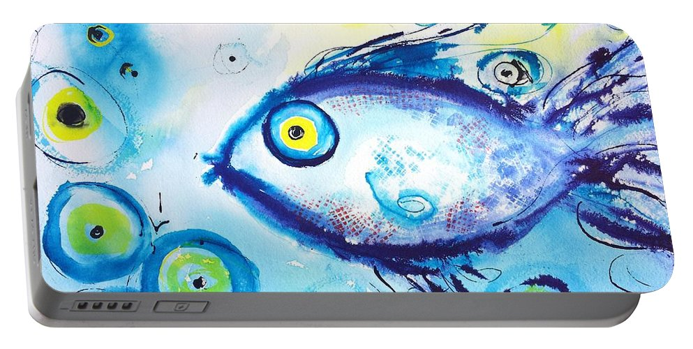 Fish Portable Battery Charger featuring the painting Good Luck Fish Abstract by Carlin Blahnik CarlinArtWatercolor