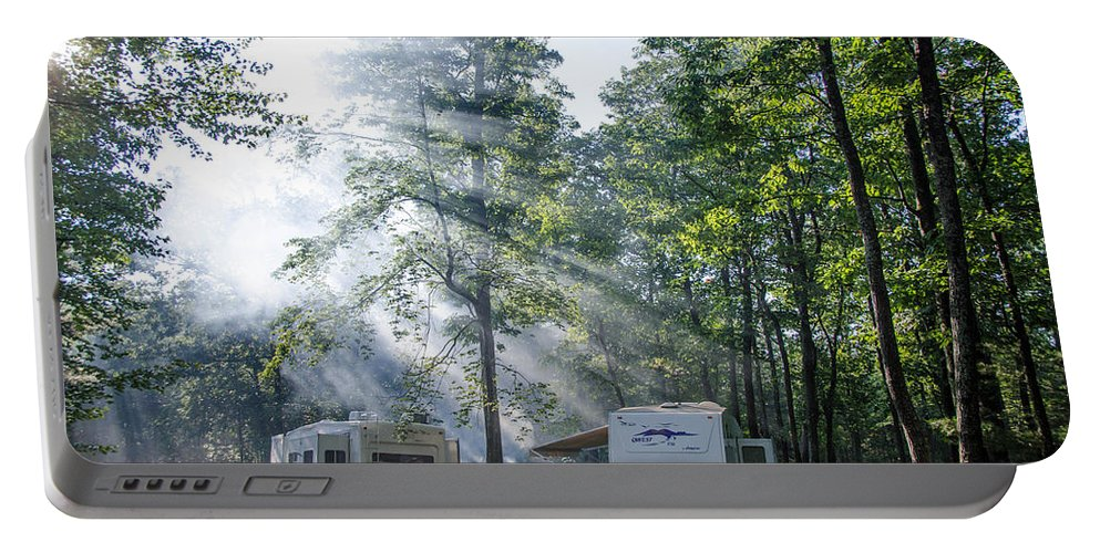 Forest Portable Battery Charger featuring the photograph Good Morning Campers by Guy Whiteley