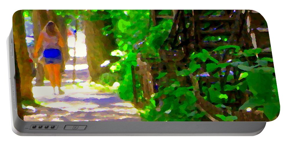 Montreal Portable Battery Charger featuring the painting Goodbye Walking Away New Friends New Places To Visit Streets Of Verdun Montreal Art Scenes C Spandau by Carole Spandau