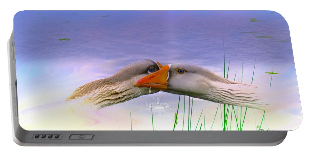 Goose Portable Battery Charger featuring the photograph Goose Kiss - Featured In Comfortable Art - Nature Wildlife - Wildlife Groups by Ericamaxine Price