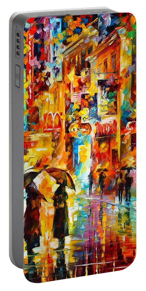 Afremov Painting Palette Knife Art Handmade Surreal Abstract Oil Landscape Original Realism Unique Special Life Color Beauty Admiring Light Reflection Piece Renown Authenticity Smooth Certificate Colorful Beauty Perspective Color Gossip Portable Battery Charger featuring the painting Gossip by Leonid Afremov