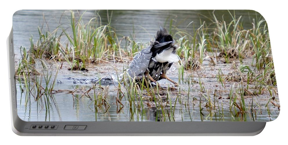Great Blue Heron Portable Battery Charger featuring the photograph Got It by Thomas Phillips