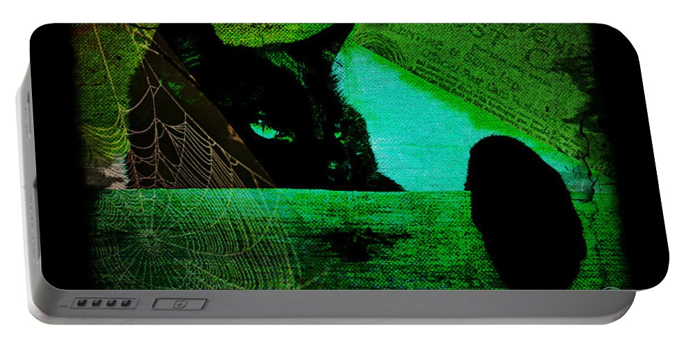 Cat Portable Battery Charger featuring the digital art Gothic Black Cat by Absinthe Art By Michelle LeAnn Scott