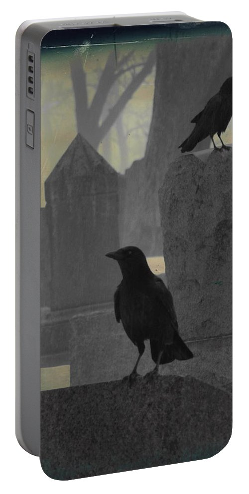 Cemetery Crows Portable Battery Charger featuring the photograph Gothic Winter Blackbirds by Gothicrow Images