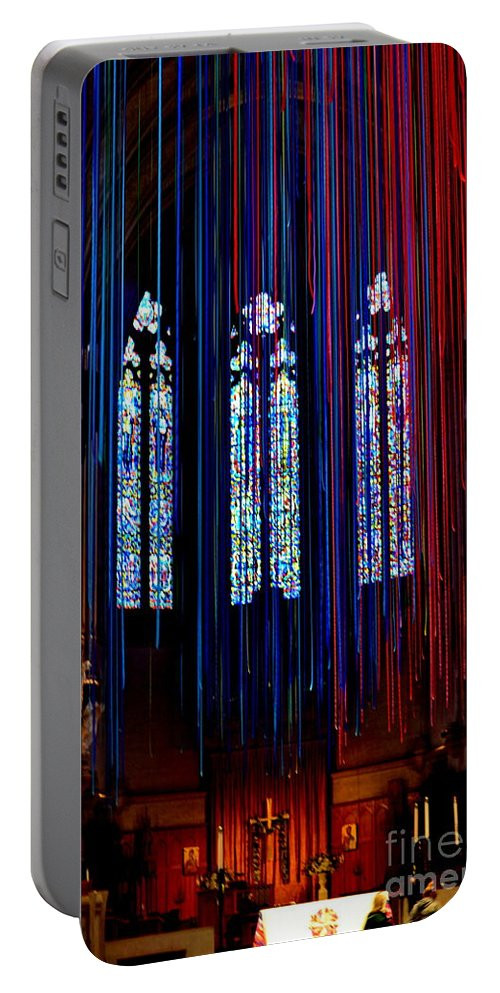 Grace Cathedral Portable Battery Charger featuring the photograph Grace Cathedral With Ribbons by Dean Ferreira