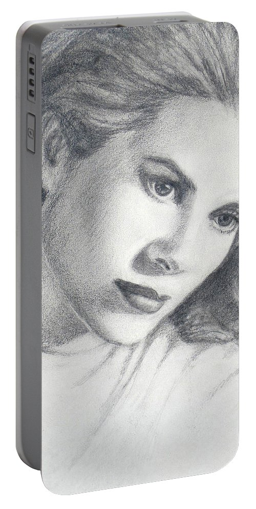Figurative Portable Battery Charger featuring the drawing Grace by Sarah Parks