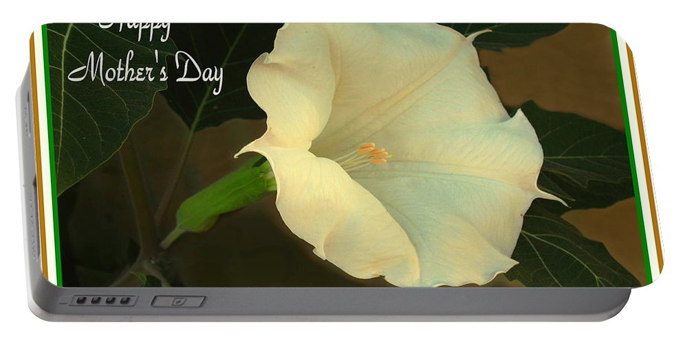 Moonflower Portable Battery Charger featuring the photograph Graceful Moonflower - Happy Mother's Day by Joyce Dickens
