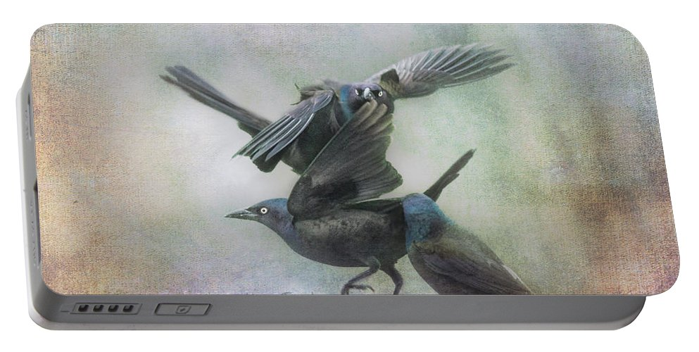 Grackle Portable Battery Charger featuring the photograph Grackle Dance by Susan Capuano