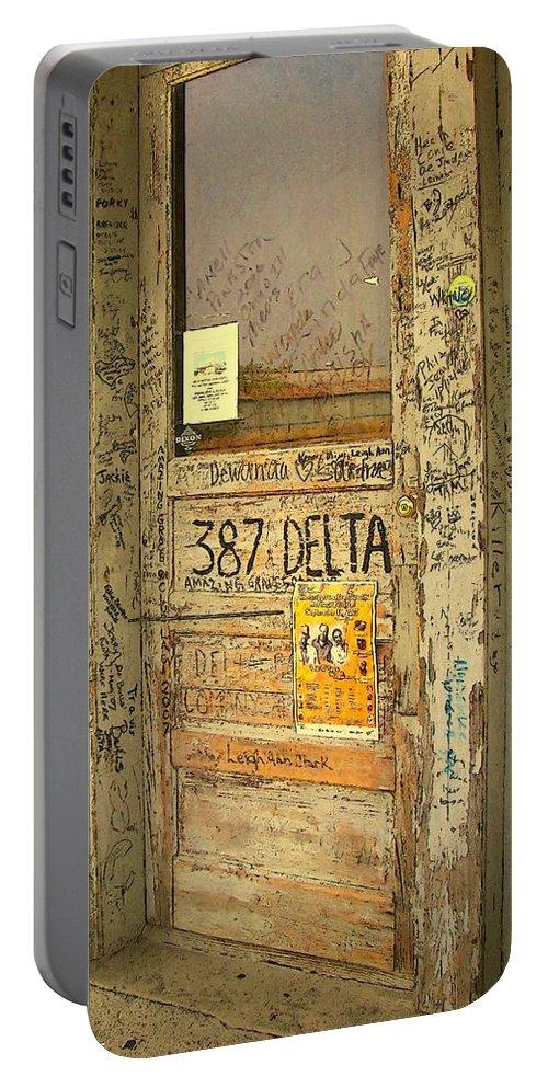 Rebecca Stringer Korpita Portable Battery Charger featuring the photograph Graffiti Door - Ground Zero Blues Club Ms Delta by Rebecca Korpita