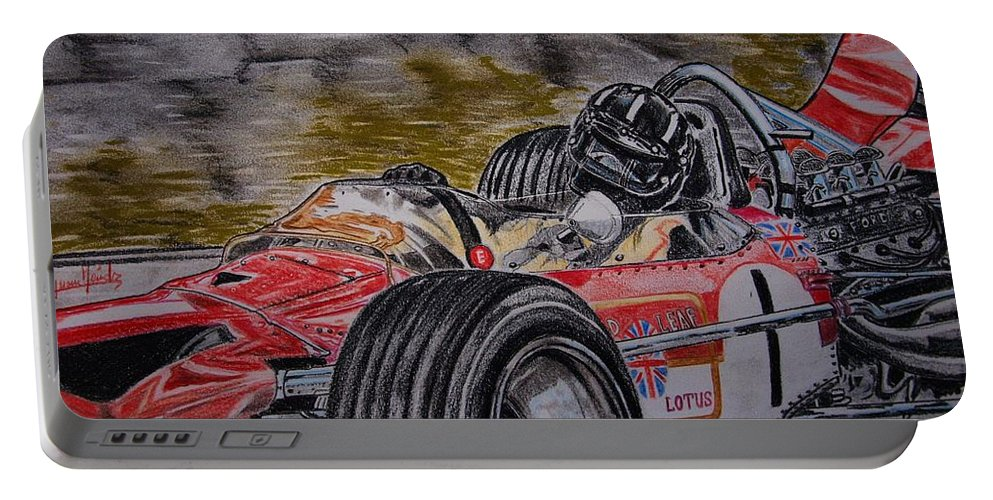 Grahama Hill Portable Battery Charger featuring the painting Graham Hill Mr Monaco by Juan Mendez