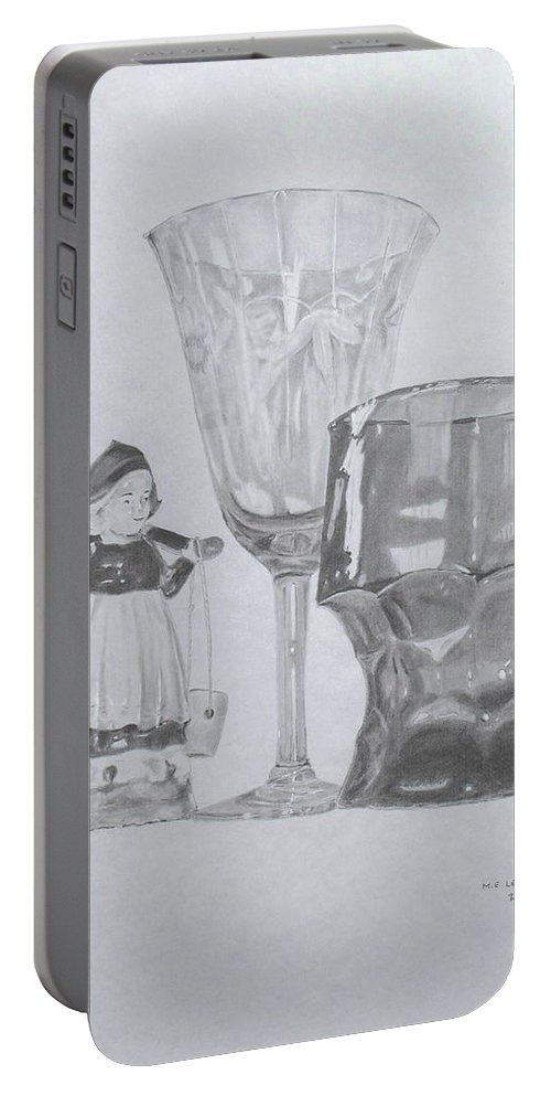 Glassware Portable Battery Charger featuring the drawing Grammas Glasses by Mary Ellen Mueller Legault