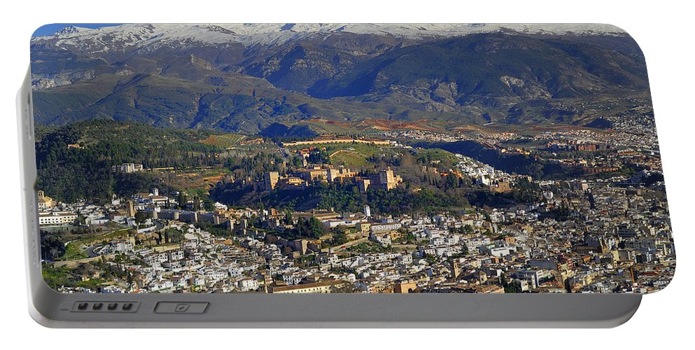 Lthe Alhambra Portable Battery Charger featuring the photograph Granada And The Alhambra by Guido Montanes Castillo