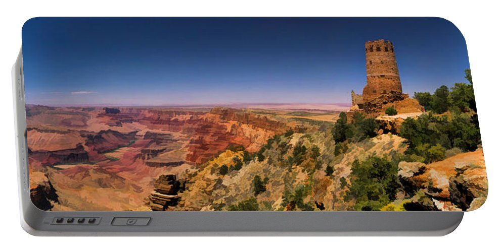 Grand Canyon Portable Battery Charger featuring the painting Grand Canyon Desert View Watchtower Panorama by Christopher Arndt