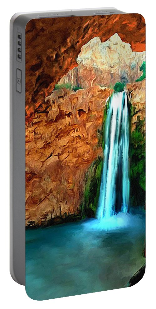 Angel Portable Battery Charger featuring the painting Grand Canyon Havasu Falls by Bob and Nadine Johnston