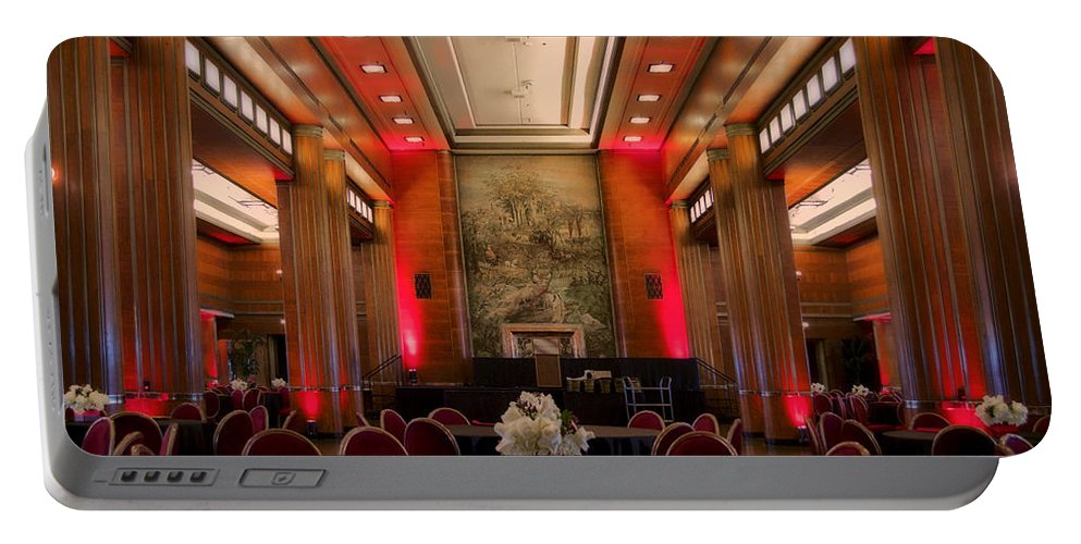 Queen Mary Portable Battery Charger featuring the photograph Grand Salon 01 Queen Mary Ocean Liner by Thomas Woolworth