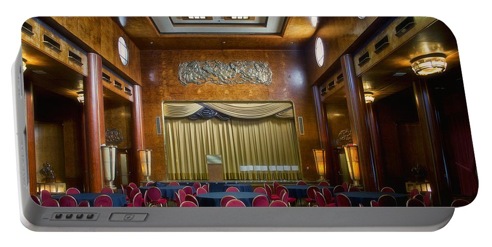 Queen Mary Portable Battery Charger featuring the photograph Grand Salon 02 Queen Mary Ocean Liner by Thomas Woolworth