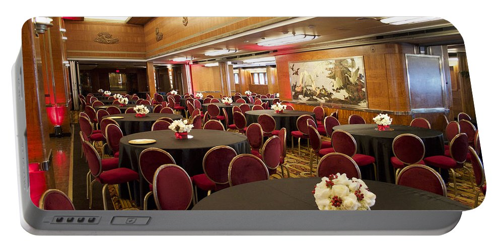 Queen Mary Portable Battery Charger featuring the photograph Grand Salon 03 Queen Mary Ocean Liner by Thomas Woolworth