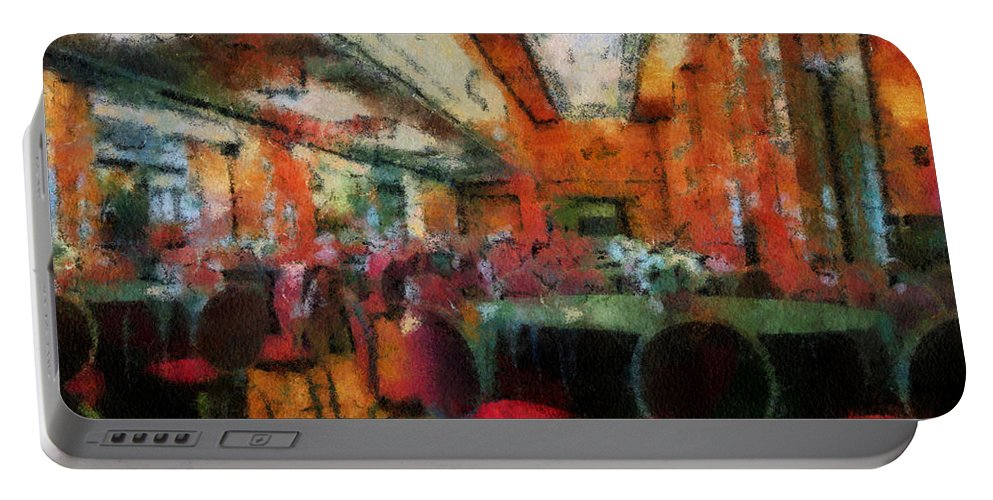 Queen Mary Portable Battery Charger featuring the photograph Grand Salon 05 Queen Mary Ocean Liner Photo Art 03 by Thomas Woolworth
